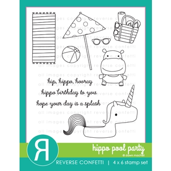 Reverse Confetti HIPPO POOL PARTY Clear Stamps