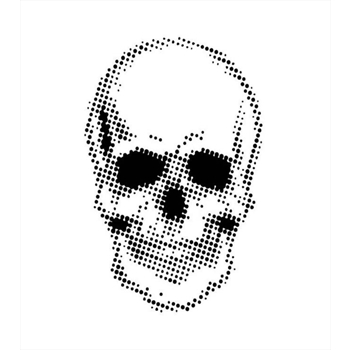 Creative Expressions HALF TONE SKULL Andy Skinner Stencil ceasten003