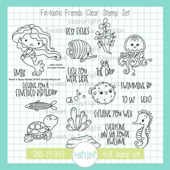 Sweet 'N Sassy FIN-TASTIC FRIENDS Clear Stamp Set jn-sns-19-043