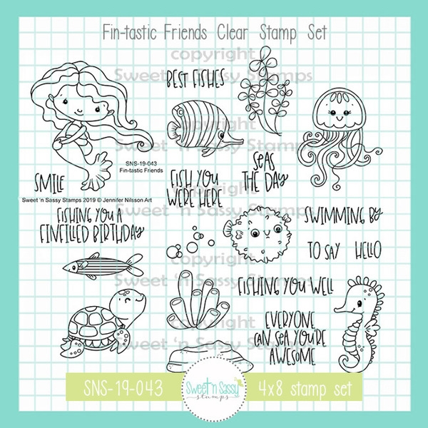Sweet 'N Sassy FIN-TASTIC FRIENDS Clear Stamp Set jn-sns-19-043* zoom image