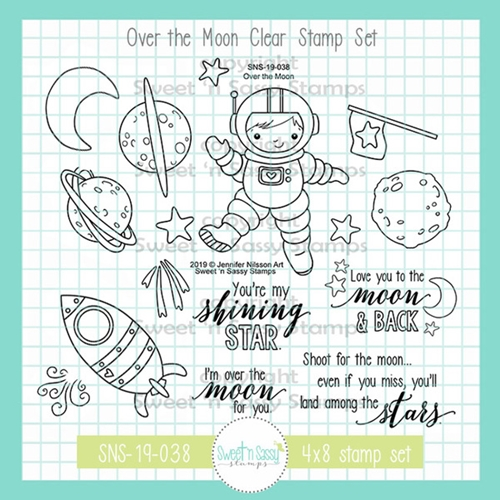 Sweet 'N Sassy OVER THE MOON Clear Stamp Set jn-sns-19-038 Preview Image