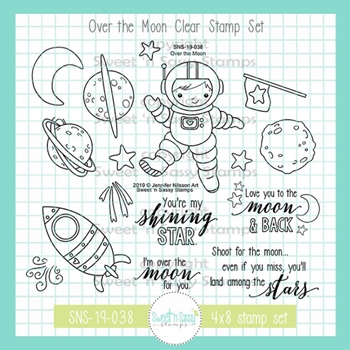 Sweet 'N Sassy OVER THE MOON Clear Stamp Set jn-sns-19-038