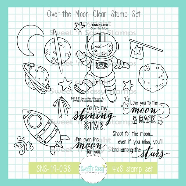 Sweet 'N Sassy OVER THE MOON Clear Stamp Set jn-sns-19-038 zoom image