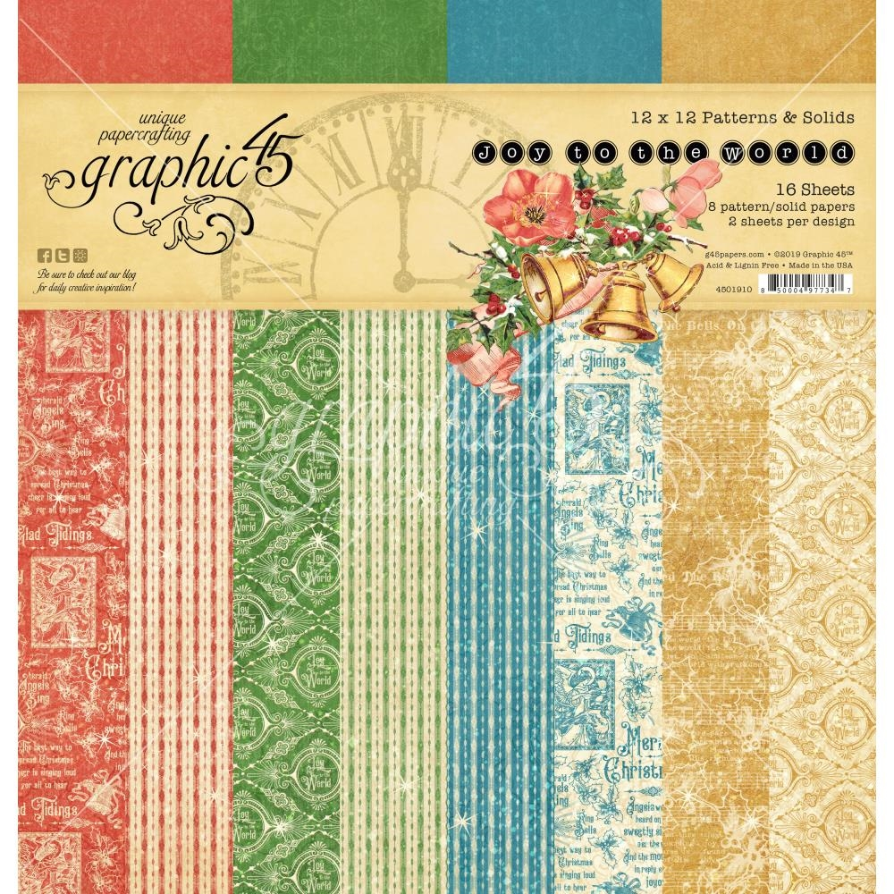 Graphic 45 JOY TO THE WORLD 12 x 12 Patterns And Solids Paper Pad 4501910 zoom image