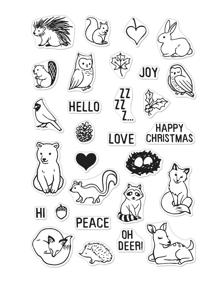 Hero Arts Clear Stamps WINTER FOREST ANIMALS CM377 zoom image