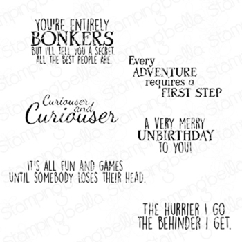 Stamping Bella Cling Stamp ALICE IN WONDERLAND Sentiment Set eb836