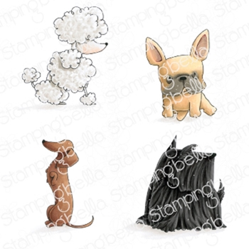 Stamping Bella Cling Stamp FRENCHIE, SCOTTIE, POODLE AND DACHSIE eb841