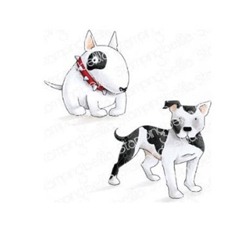 Stamping Bella Cling Stamp STAFFIE AND ENGLISH BULL TERRIER eb844