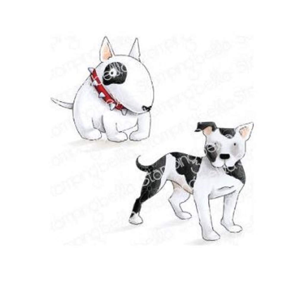 Stamping Bella Cling Stamp STAFFIE AND ENGLISH BULL TERRIER eb844 zoom image