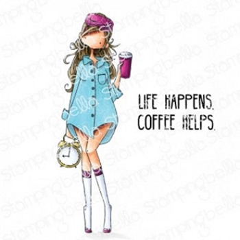 Stamping Bella Cling Stamp CURVY GIRL LOVES COFFEE eb853
