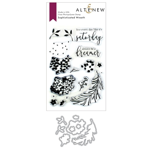 Altenew SOPHISTICATED WREATH Clear Stamp and Die Bundle ALT3390  Preview Image