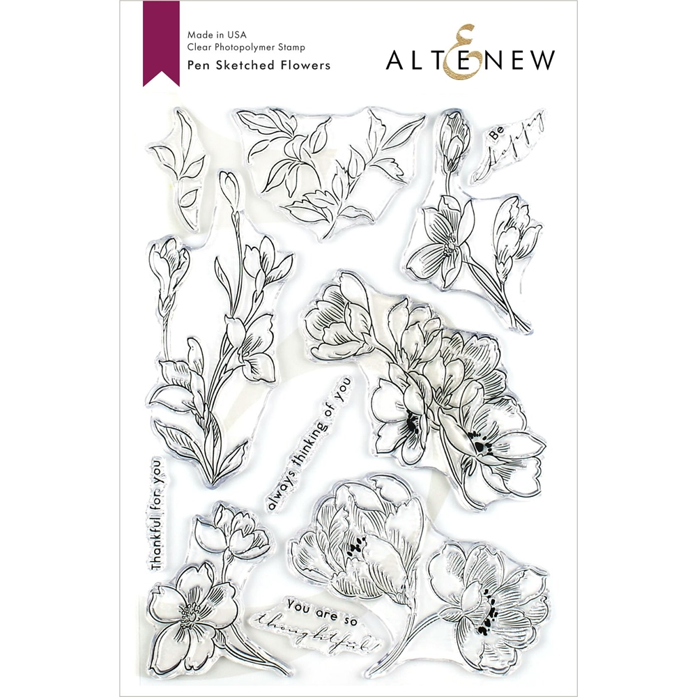 Altenew PEN SKETCHED FLOWERS Clear Stamps ALT3382 zoom image