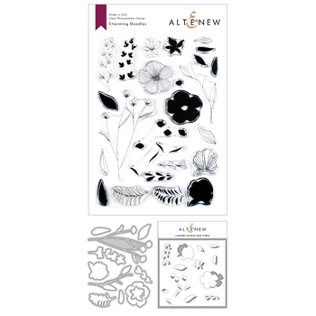 Altenew CHARMING DOODLES Clear Stamp, Die and Stencil Bundle ALT3373