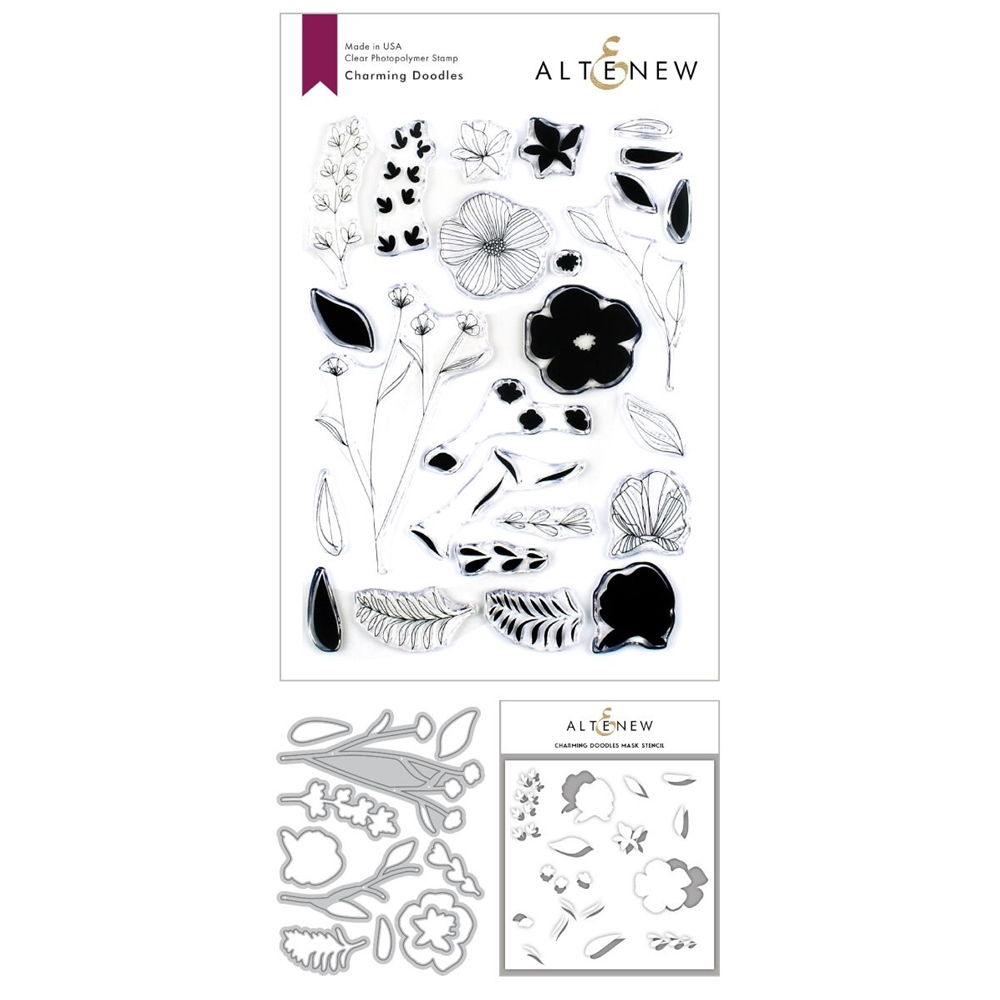 Altenew CHARMING DOODLES Clear Stamp, Die and Stencil Bundle ALT3373 zoom image