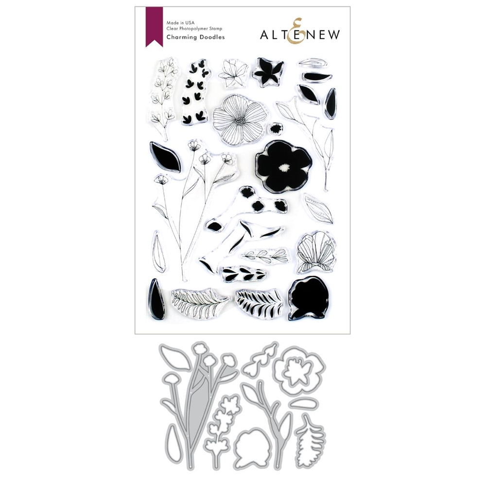 Altenew CHARMING DOODLES Clear Stamp and Die Bundle ALT3372 zoom image