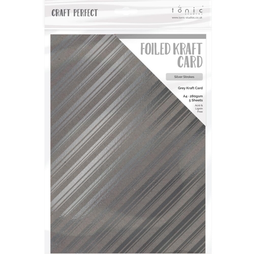 Tonic SILVER STROKES A4 Craft Perfect Foiled Kraft Card 9348e Preview Image