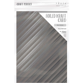 Tonic SILVER STROKES A4 Craft Perfect Foiled Kraft Card 9348e