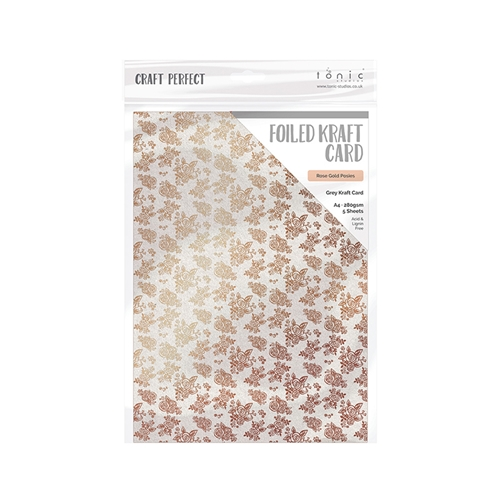 Tonic ROSE GOLD POSIES A4 Craft Perfect Foiled Kraft Card 9349e Preview Image