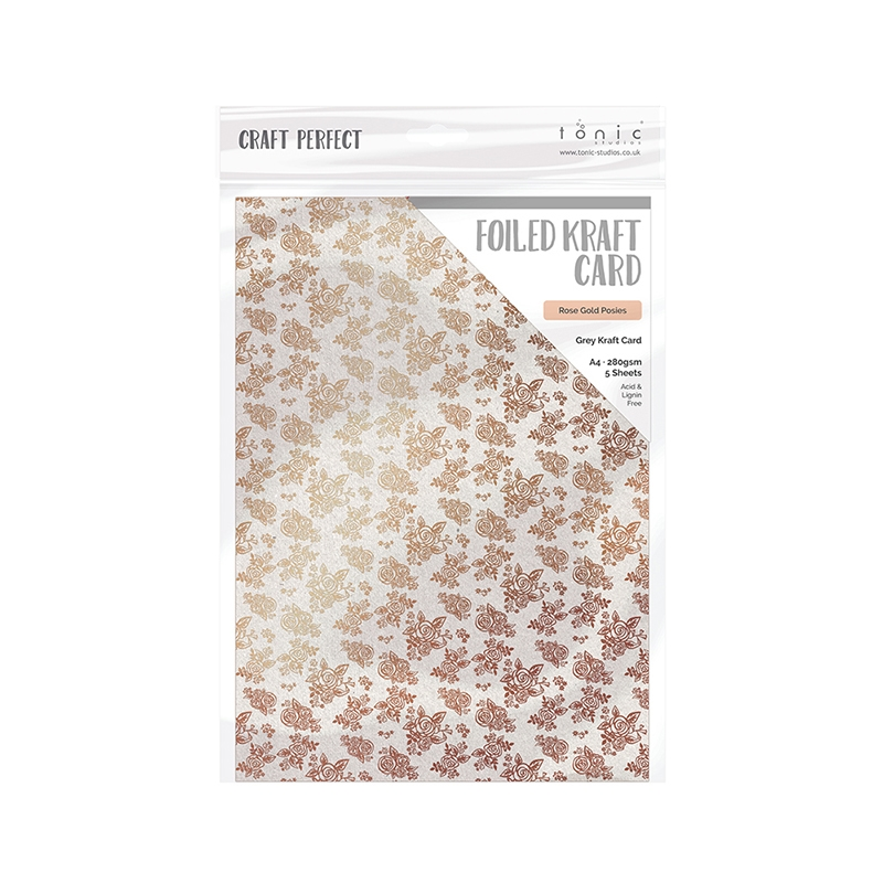 Tonic ROSE GOLD POSIES A4 Craft Perfect Foiled Kraft Card 9349e zoom image