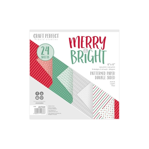 Tonic MERRY AND BRIGHT Craft Perfect Patterned 6 x 6 Paper Pack 9378e Preview Image