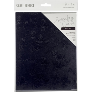 Tonic NAVY TOILE Luxury Embossed A4 Paper Pack 9845e