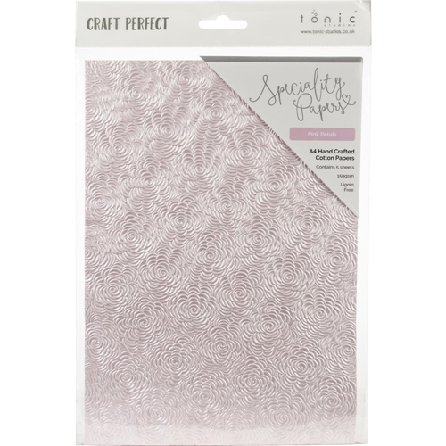 Tonic PINK PETALS Hand Crafted Embossed Cotton A4 Paper Pack 9884e Preview Image