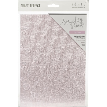 Tonic PINK PETALS Hand Crafted Embossed Cotton A4 Paper Pack 9884e