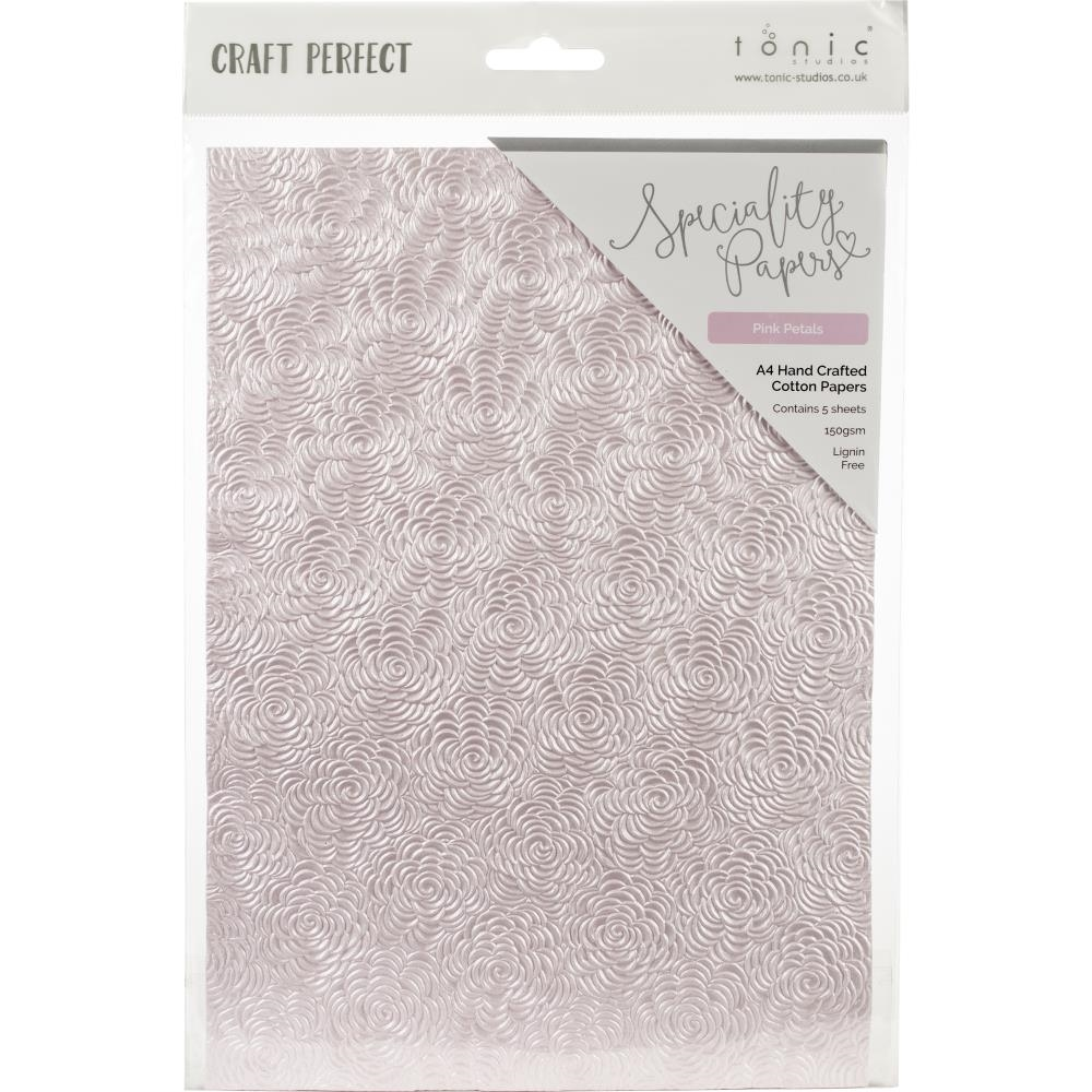 Tonic PINK PETALS Hand Crafted Embossed Cotton A4 Paper Pack 9884e zoom image