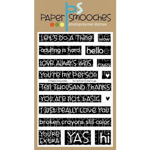 Paper Smooches INVERTED GREETINGS Clear Stamps J3S312 Preview Image