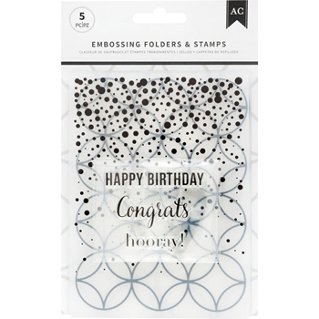 American Crafts HOORAY Embossing Folders and Stamps 352079