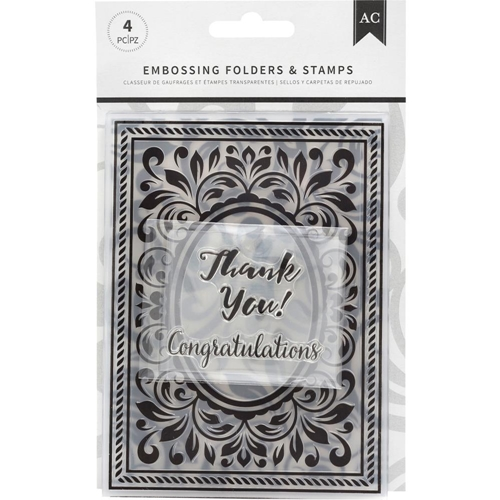 American Crafts CONGRATULATIONS FLOURISH Embossing Folders and Stamps 352078 Preview Image