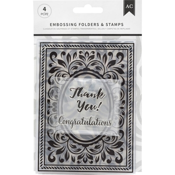 American Crafts CONGRATULATIONS FLOURISH Embossing Folders and Stamps 352078