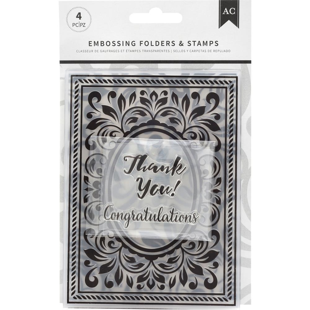 American Crafts CONGRATULATIONS FLOURISH Embossing Folders and Stamps 352078 zoom image