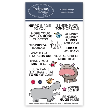 Technique Tuesday HELEN AND HARRY THE HIPPOS Clear Stamps 2792