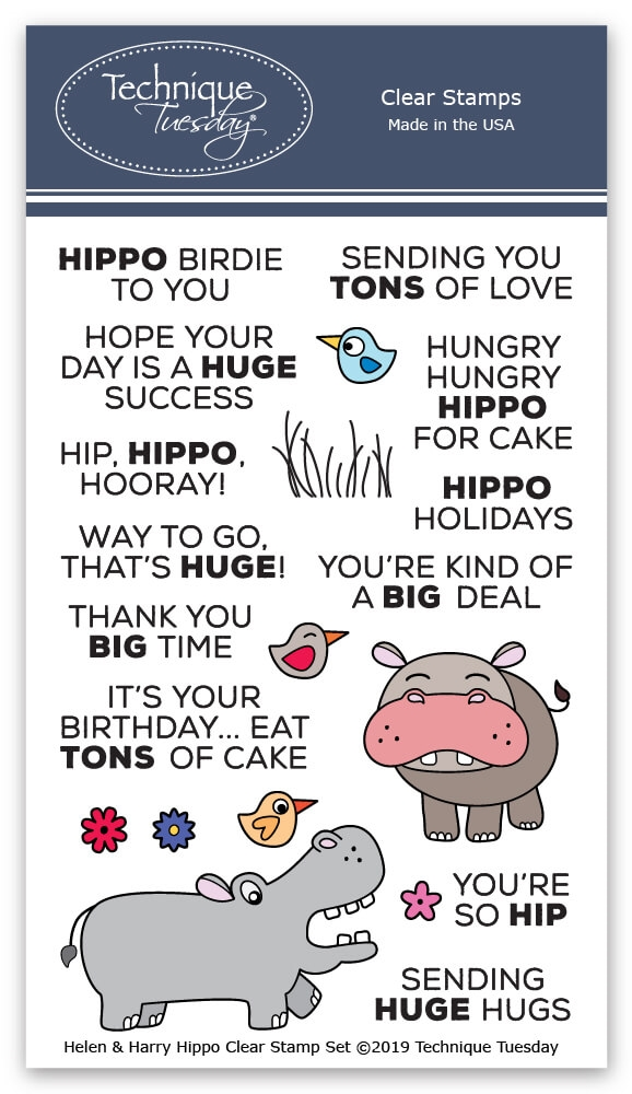 Technique Tuesday HELEN AND HARRY THE HIPPOS Clear Stamps 2792 zoom image