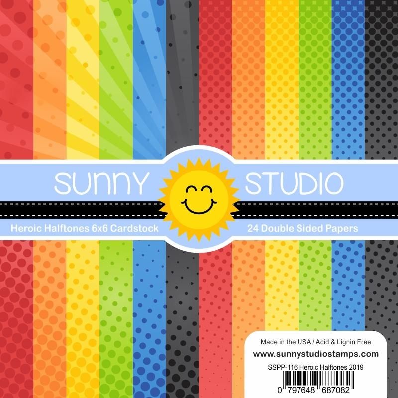 Sunny Studio Heroic Halftone 6x6 Paper Pack