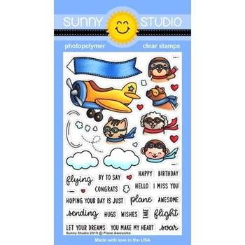 Sunny Studio PLANE AWESOME Clear Stamps SSCL-233