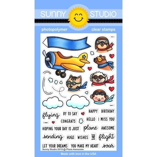 Sunny Studio PLANE AWESOME Clear Stamps SSCL-233 zoom image