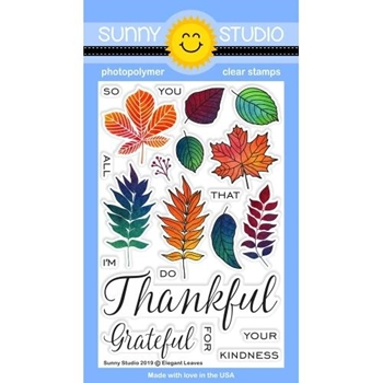 Sunny Studio ELEGANT LEAVES Clear Stamps SSCL-230