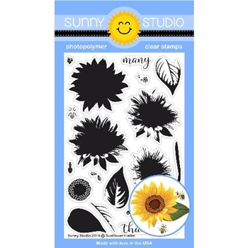 Sunny Studio SUNFLOWER FIELDS Clear Stamps SSCL-229