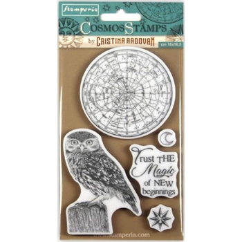 Stamperia COSMOS OWL Cling Stamp wtkccr05