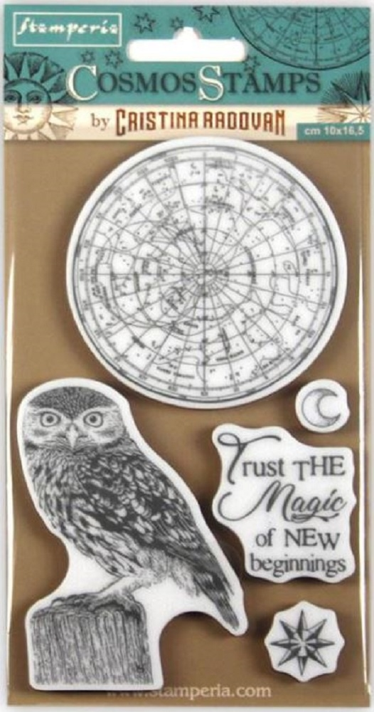 Stamperia COSMOS OWL Cling Stamp wtkccr05 zoom image