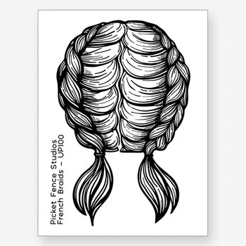 Picket Fence Studios FRENCH BRAIDS Clear Stamp up100