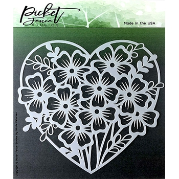 Picket Fence Studios HEART OF FLOWERS Stencil sc123