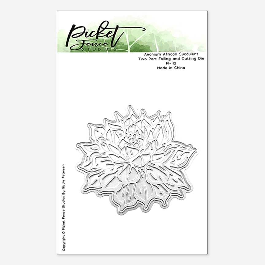 Picket Fence Studios AEONIUM AFRICAN SUCCULENT Foiled Impression Die Combo fi112* zoom image