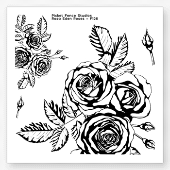 Picket Fence Studios ROSA EDEN ROSES Clear Stamps f126