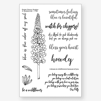 Picket Fence Studios A BLUEBONNET Clear Stamps f118