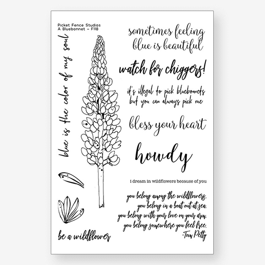 Picket Fence Studios A BLUEBONNET Clear Stamps f118 zoom image