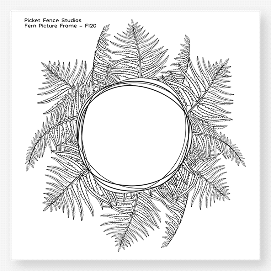 Picket Fence Studios FERN PICTURE FRAME Clear Stamp f120 zoom image