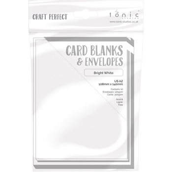 Tonic BRIGHT WHITE Craft Perfect A2 Card Blanks 9253e